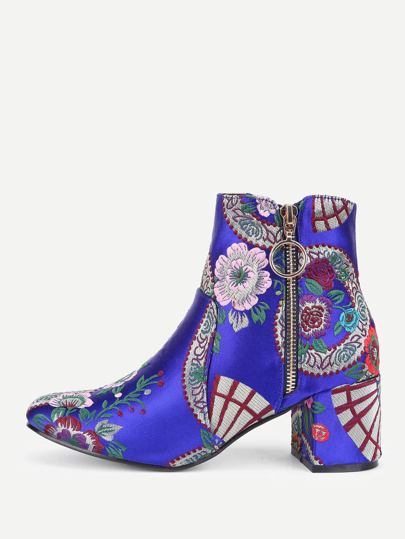 Flower Embroidery Side Zipper Ankle Boots
