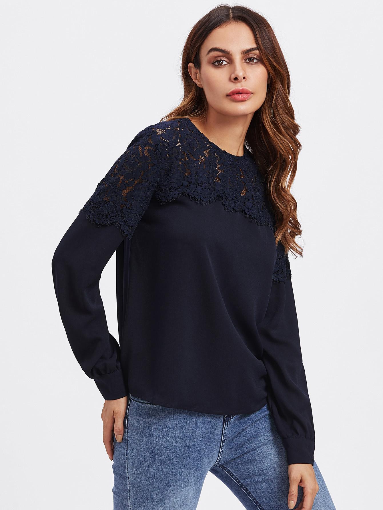 Lace Yoke Buttoned Back Top lace yoke buttoned back top