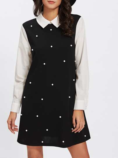 Contrast Collar And Sleeve Pearl Embellishing Swing Dress