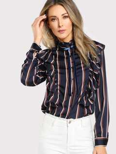 Tied Frill Neck Striped Shirt
