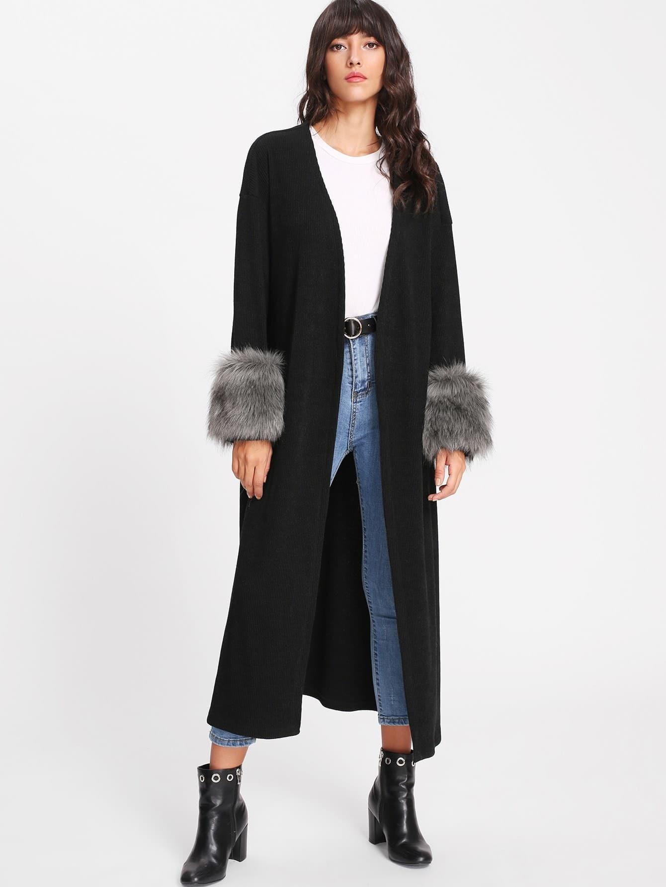 Faux Fur Embellished Cuff Longline Coat faux fur cuff drop shoulder raw hem sweatshirt