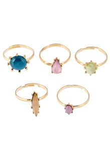 Mixed Stone Ring Set 5pcs