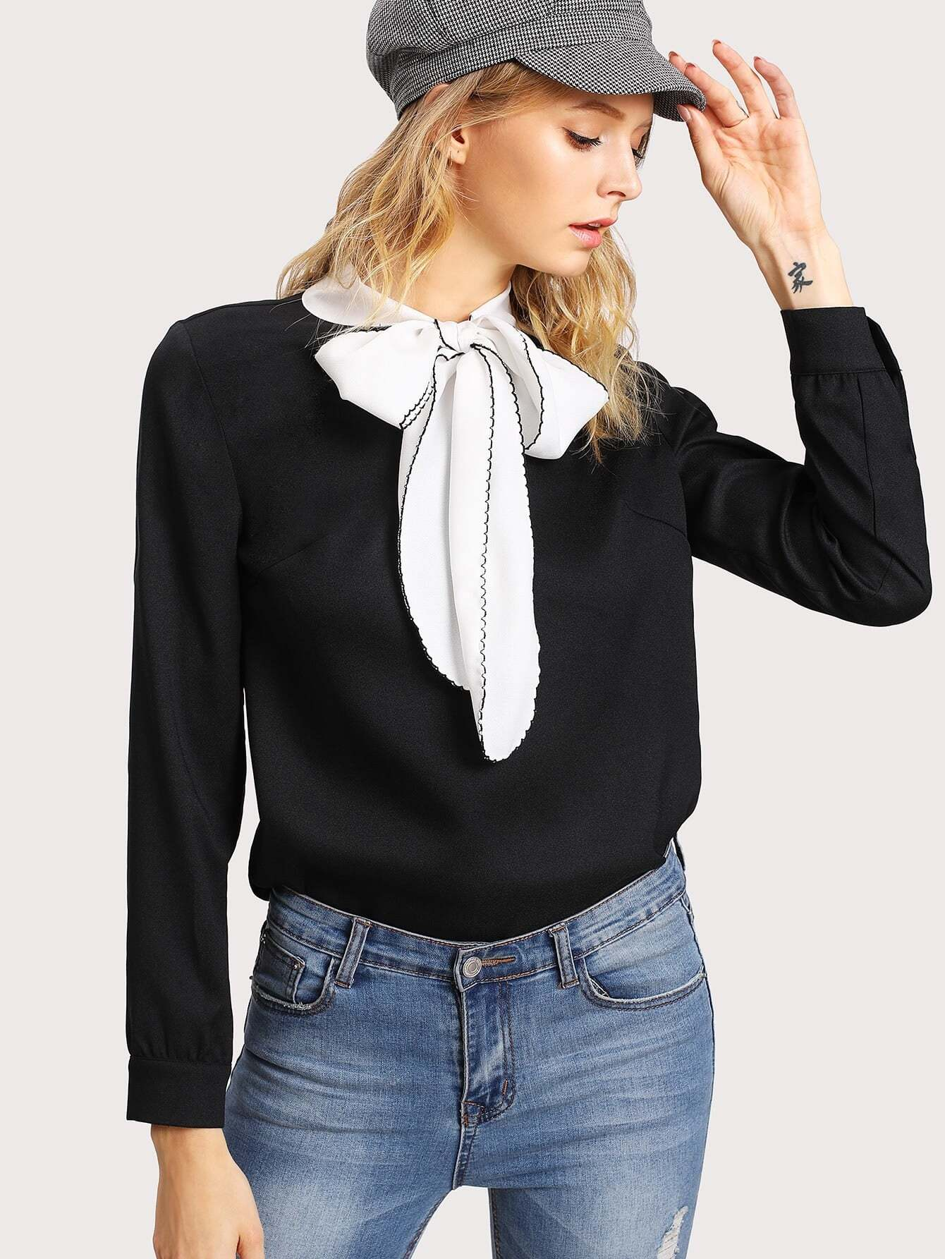 Contrast Tied Neck Blouse stylish wavy stripe pattern voile bib scarf for women