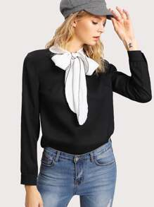 Contrast Tied Neck Blouse