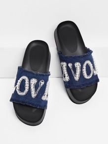 Letter Pattern Denim Sandals With Jewelry