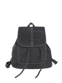 Drawstring Flap Canvas Backpack