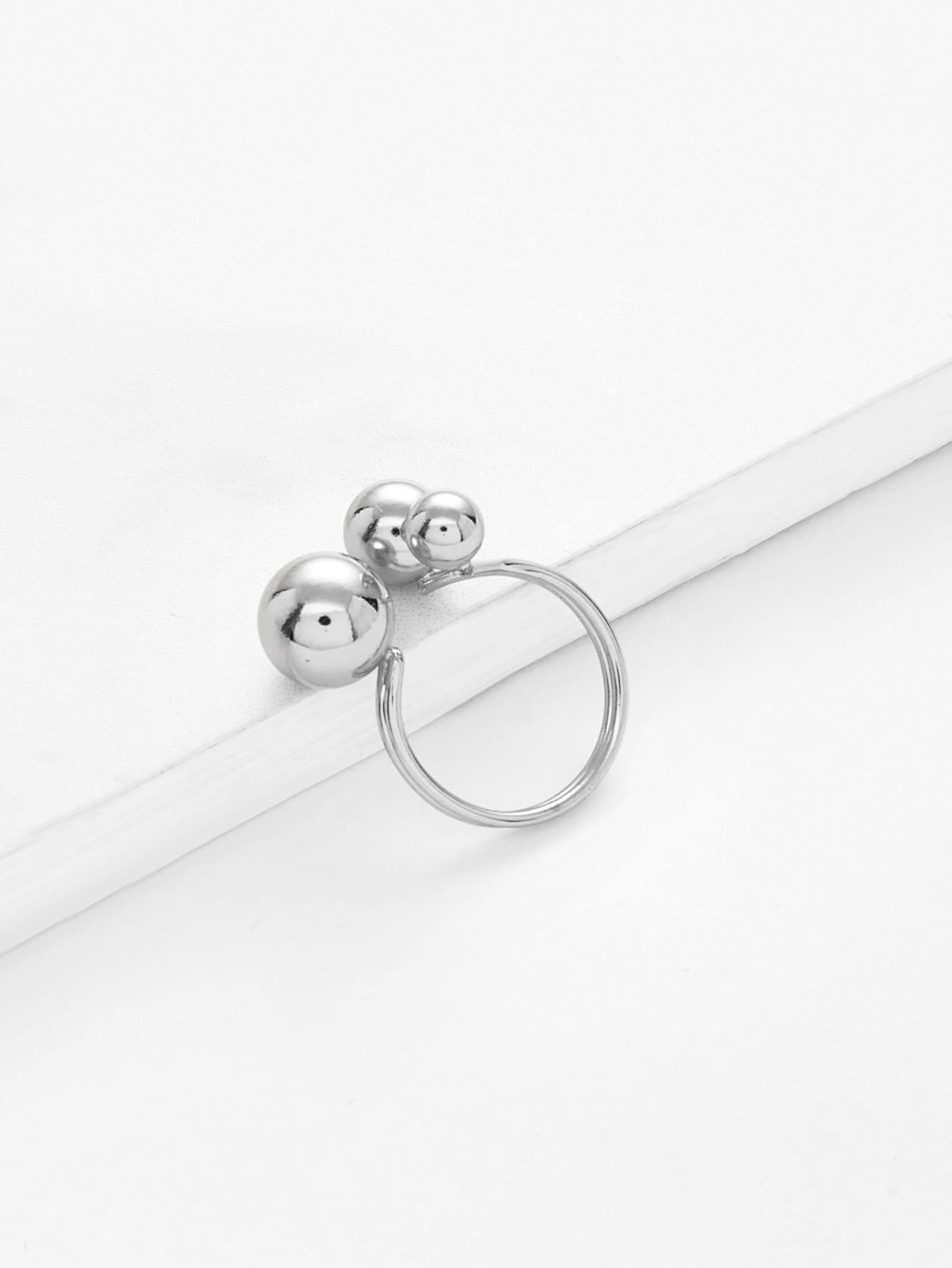 Metal Ball Design Open Ring open heart design ring