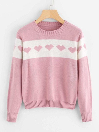 Color Block Heart Knit Sweater
