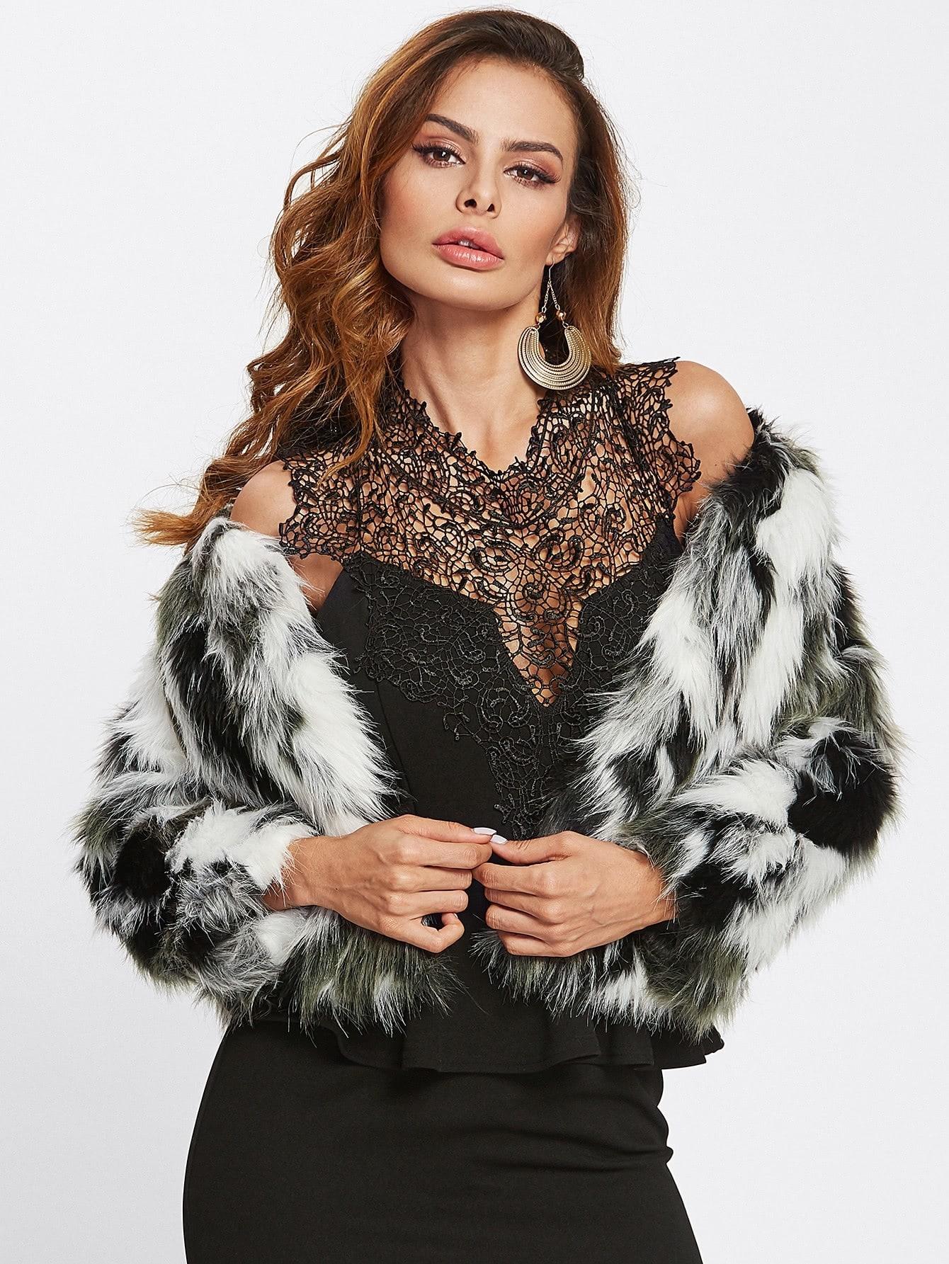Контрастная модная куртка из искусственного меха Andy
