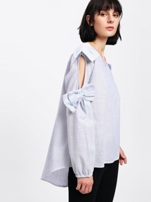 Cut Out Sleeve Bow Detail Blouse
