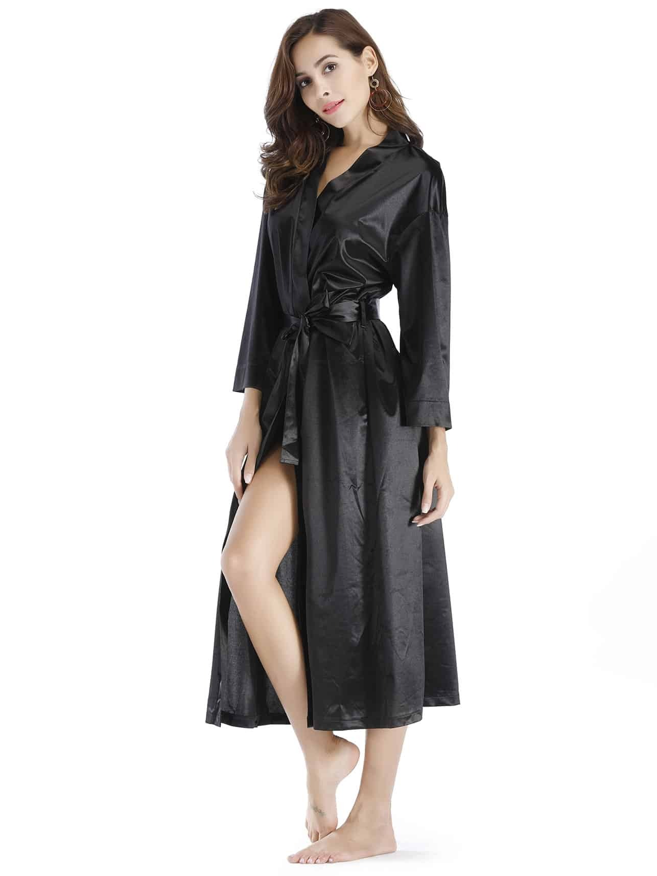 Self Tie Wrap Robe self tie satin robe with panty