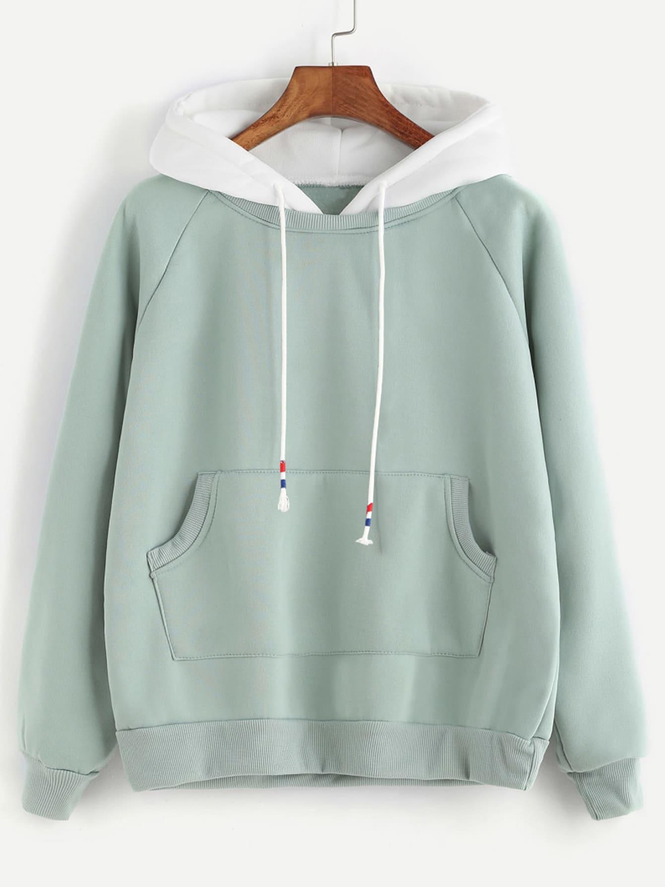 Pale Green Raglan Sleeve Pocket Sweatshirt With Contrast Hood two tone raglan sleeve sweatshirt