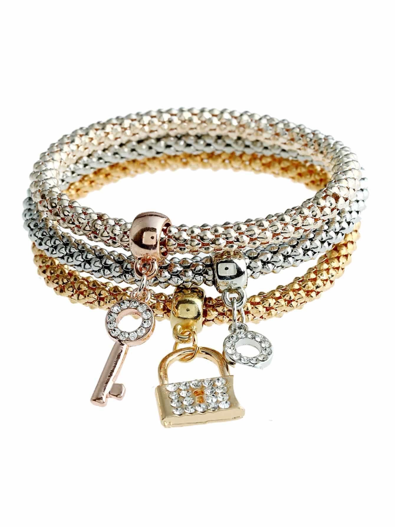 Lock & Key Charm Bracelet 3pcs