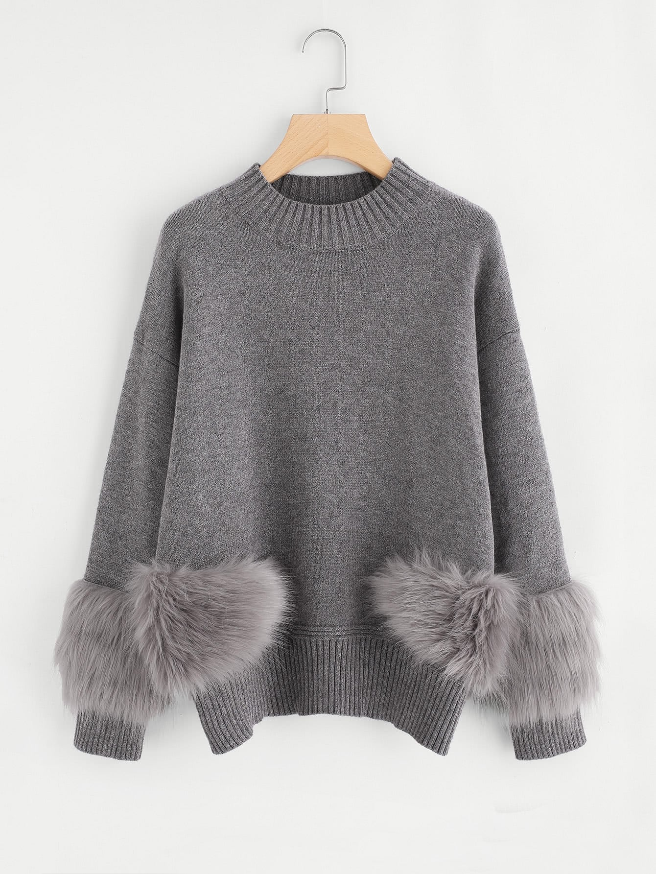 Faux Fur Detail Drop Shoulder Jumper drop shoulder grommet tie detail sweatshirt