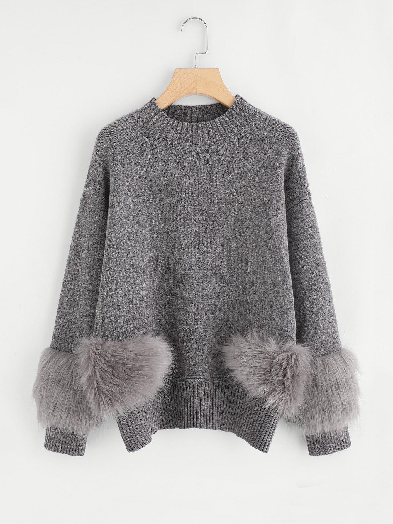 Faux Fur Detail Drop Shoulder Jumper metal grommet detail drop shoulder sweatshirt dress