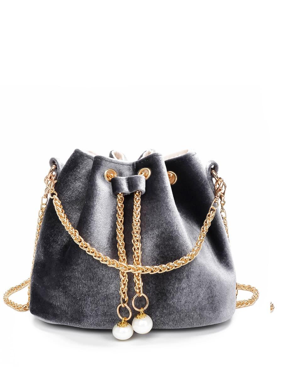 Chain Detail Velvet Bucket Bag tassel detail bucket bag