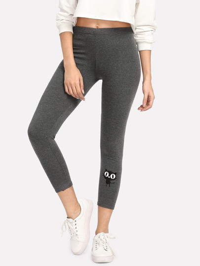 Leggings court imprimé chat