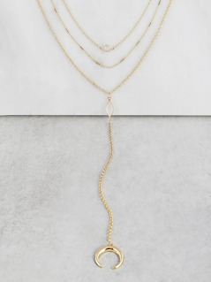 Triple Layered Half Moon Crystal Necklace GOLD