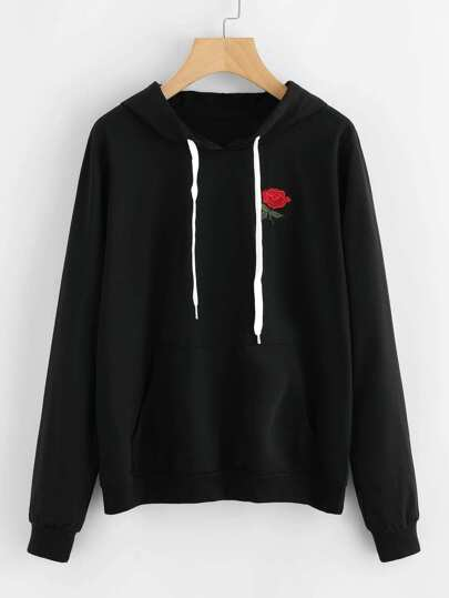 Rose Embroidered Applique Hoodie
