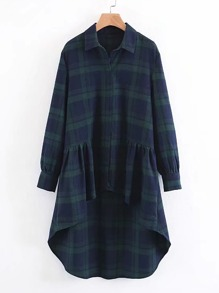 High Low Plaid Longline Blouse