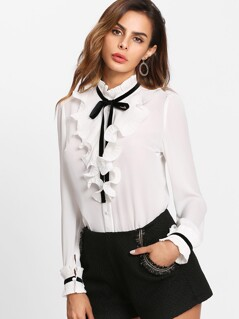 Tie Neck Pleated Ruffle Placket Blouse