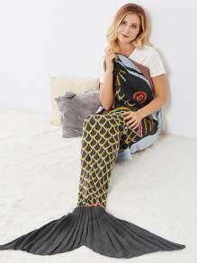 Fish Scale Pattern Fish Tail Mermaid Blanket