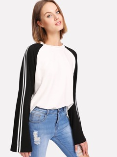 Striped Raglan Sleeve Top