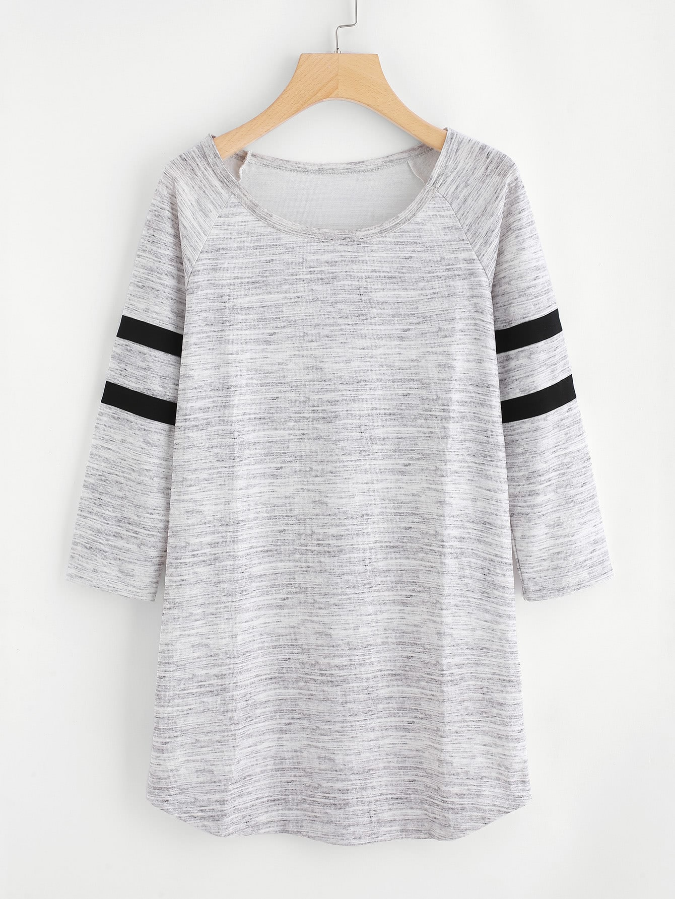 Varsity Striped Raglan Sleeve Marled Tee Dress raglan sleeve binding marled crop top