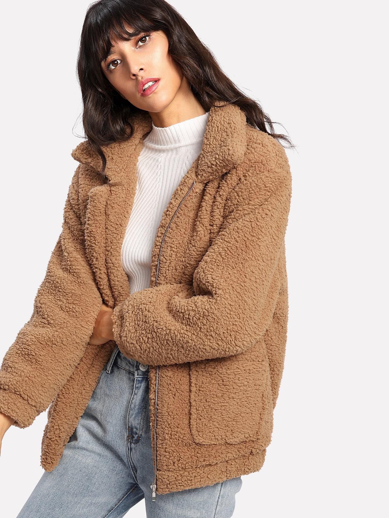 Dual Pocket Faux Fur Jacket EmmaCloth-Women Fast Fashion ...