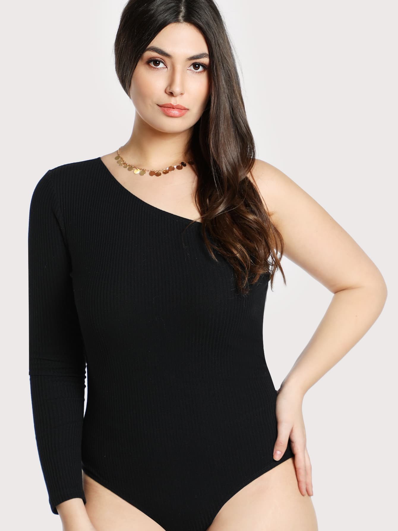 One Shoulder Solid Bodysuit