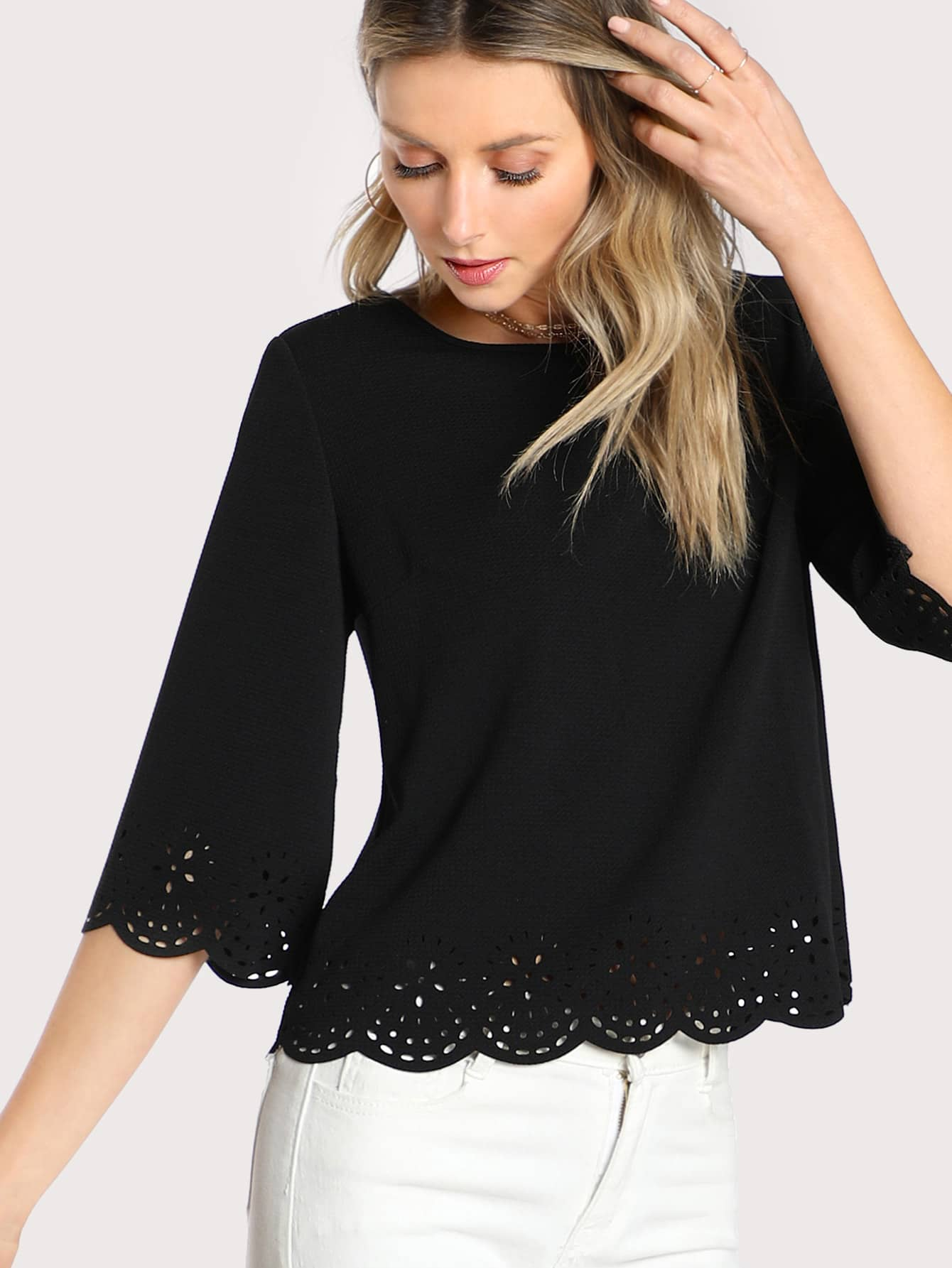 Scallop Laser Cut Textured Blouse scallop laser cut out textured tank top