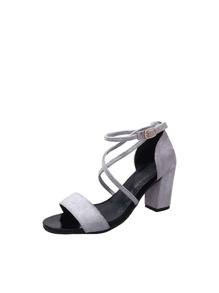 Cross Strap Block Heels