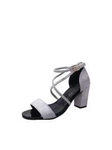 Cross Strap Block Heels