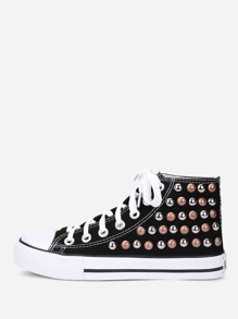 Lace Up Studded Detail Slip On Sneakers