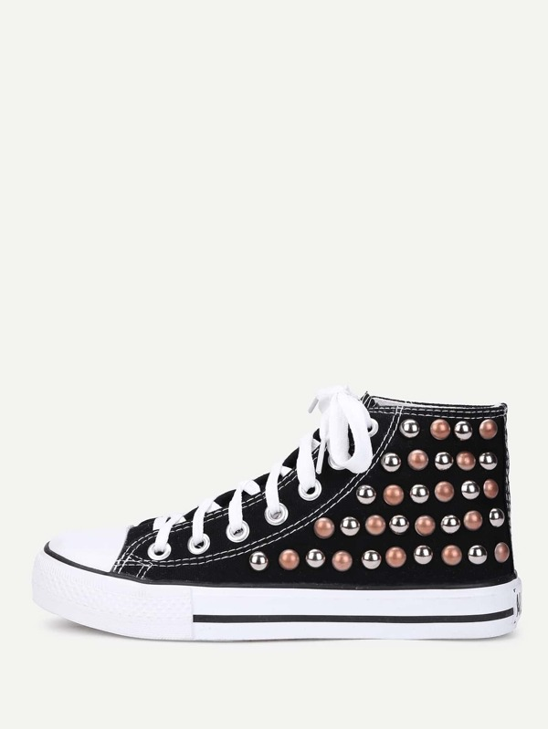 Lace Up Studded Detail Slip On Sneakers by Sheinside