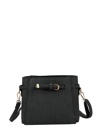 Buckle Detail PU Shoulder Bag