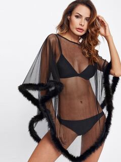 Faux Fur Trim Mesh Poncho Robe