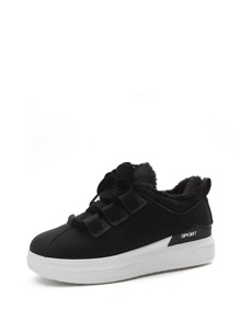Lace Up Faux Fur Lined PU Sneakers