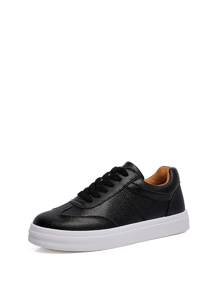 Lace Up Low Top PU Sneakers