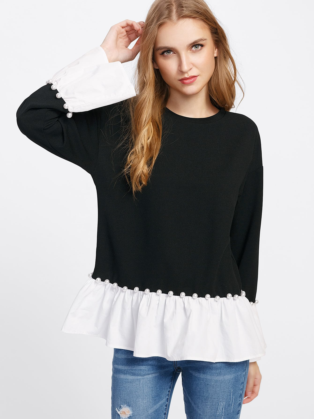 Pearl Beading Contrast Flounce Trim Top pearl beading layered sleeve top