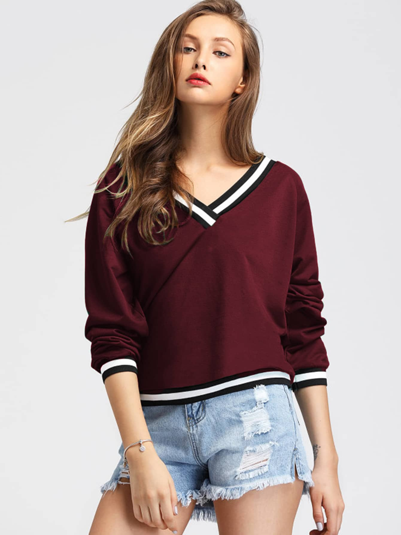 Contrast Striped Trim V-neckline Sweatshirt contrast striped v neckline flute sleeve blouse