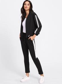 Manteau rayure bicolore côté et Pantalons