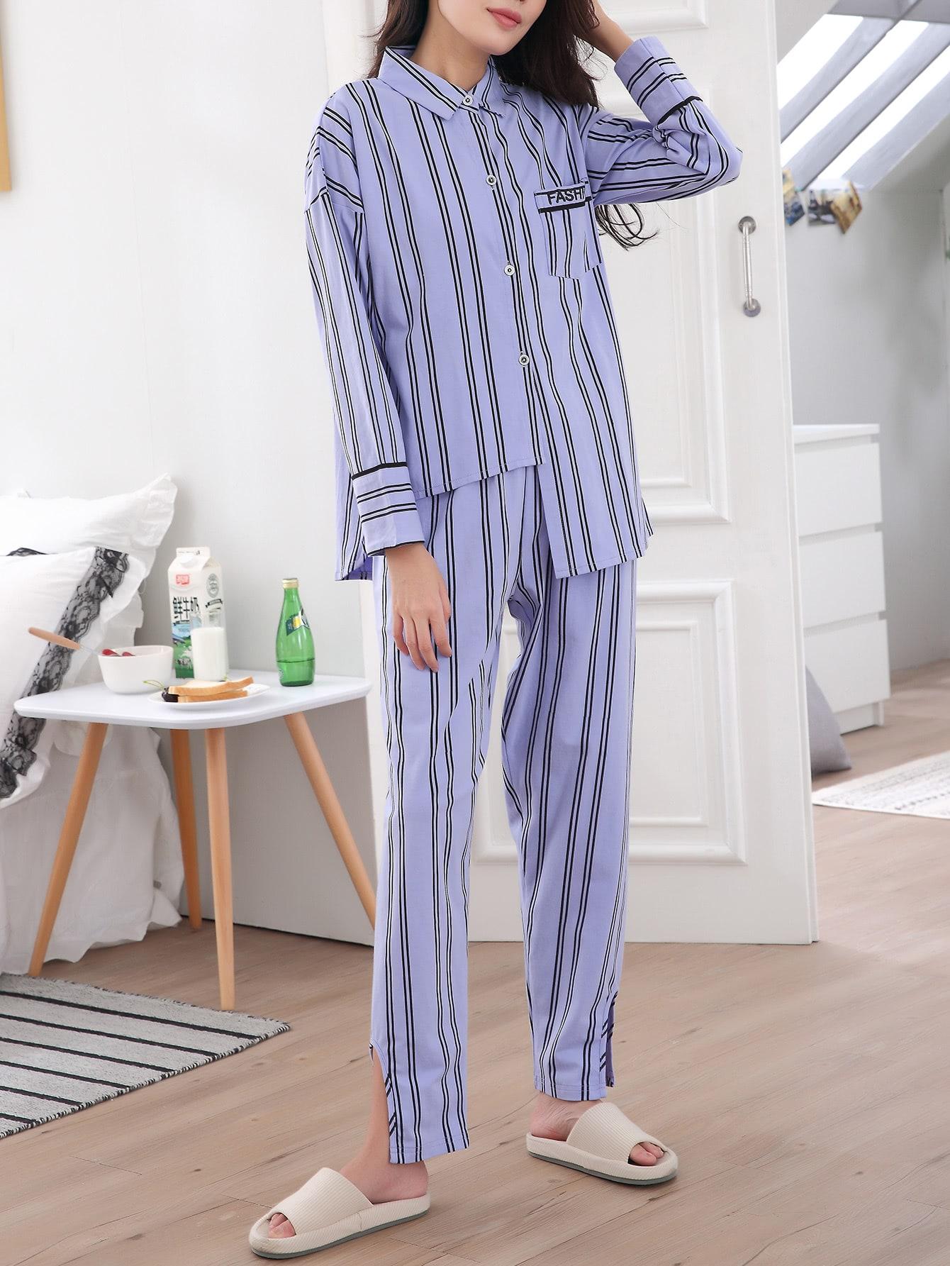 Striped Asymmetric Hem Shirt & Pants Pj Set asymmetric scallop hem flared pants