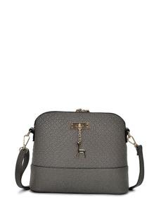 Metal Detail Double Zipper PU Shoulder Bag