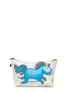 Unicorn Print Zipper Makeup Bag