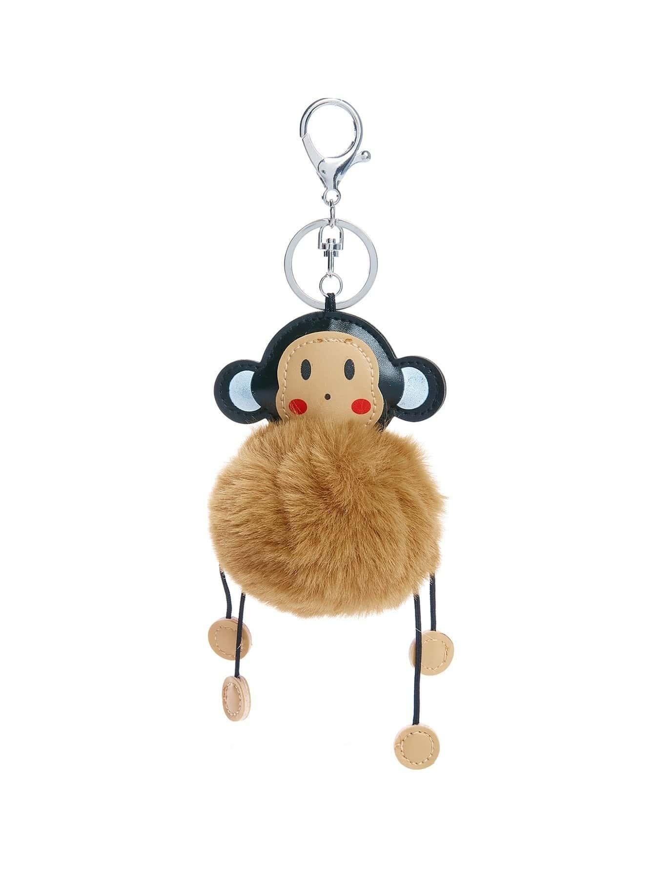 Monkey Keychain With Pom Pom cat detail pom pom keychain