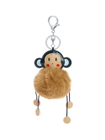 Monkey Keychain With Pom Pom
