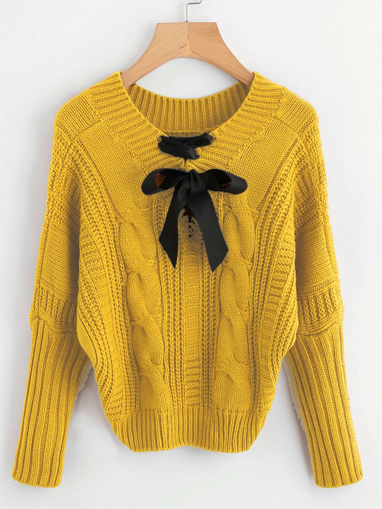 Bow Detail Cable Knit Sweater
