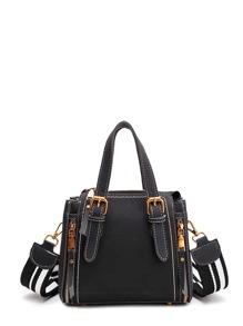 Double Buckle PU Shoulder Bag