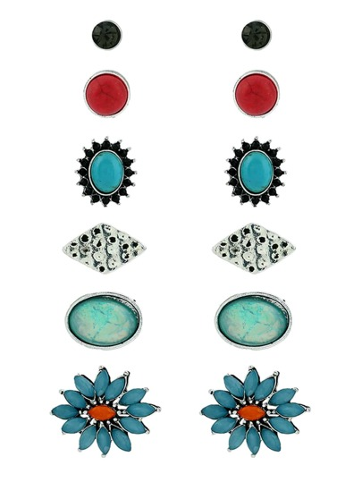 Round Turquoise Design Stud Earrings
